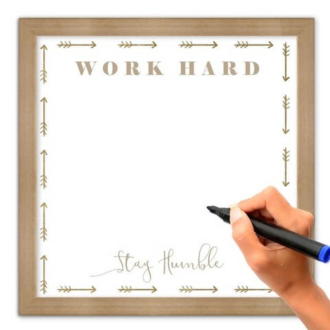 "Oliver Gal ""Work Hard Stay Humble"" Framed Whiteboard"