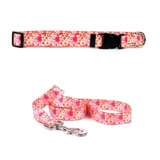 Yellow Dog Design Pink Elephant Pet Standard Collar & Lead Set