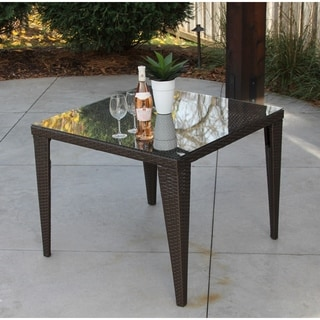 Brown Wicker and Glass Square Table