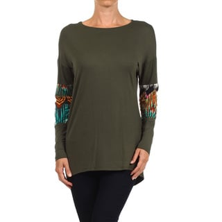 Women's Green Rayon and Spandex Border-print Inset Sleeve Top