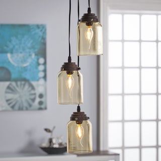 Harper Blvd Ticino Colored Glass Triple Pendant Lamp- Amber