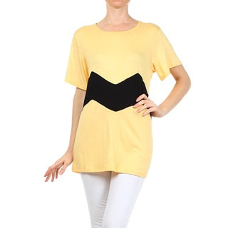 Women's Yellow and Black Rayon and Spandex Animated Striped Tunic