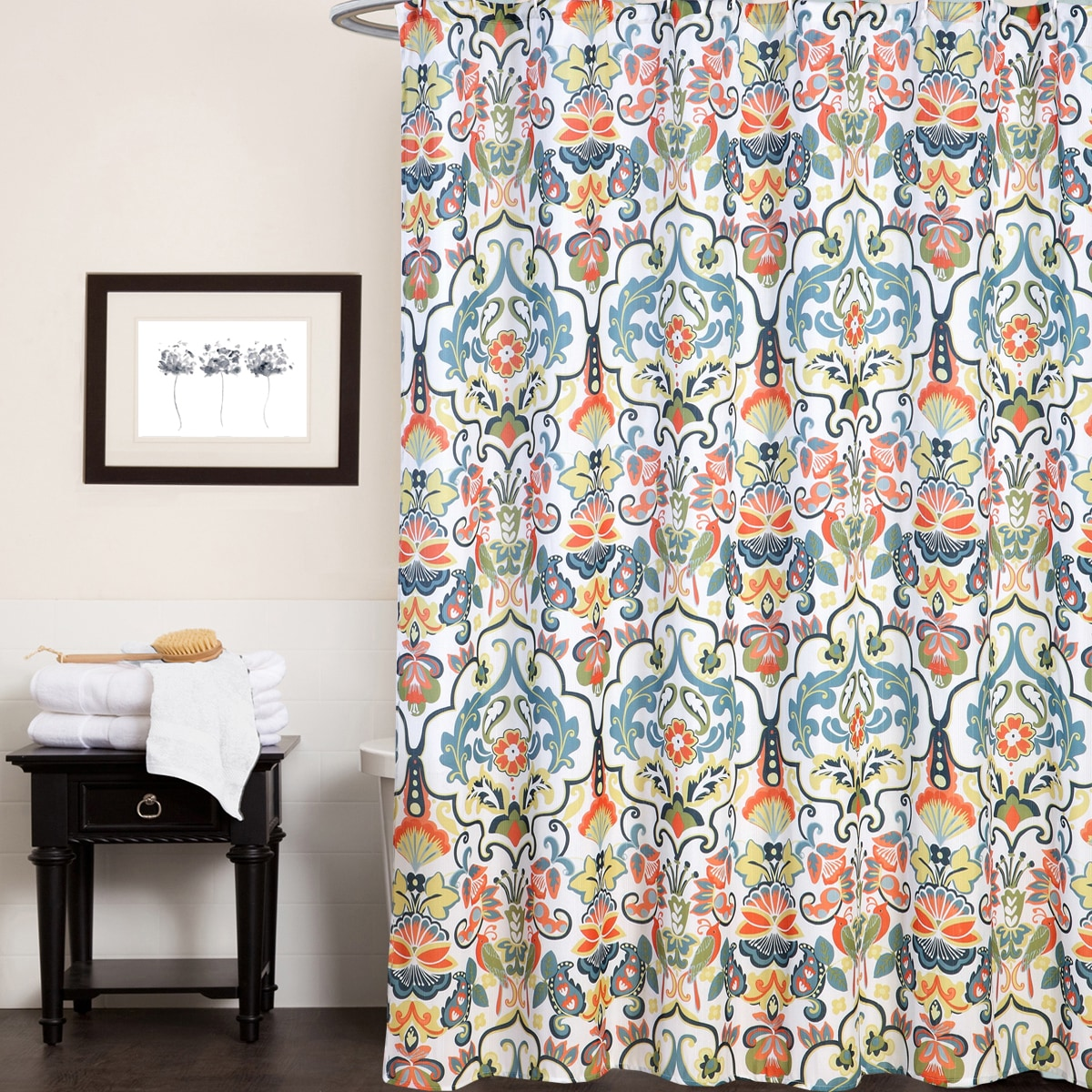 Shop Fabric Shower Curtain With Modern Paisley Floral Print 70
