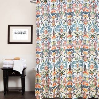 "Fabric Shower Curtain With Modern Paisley Floral Print (70""x70"")"