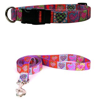 Yellow Dog Design Crazy Hearts Pet Standard Collar & Lead Set