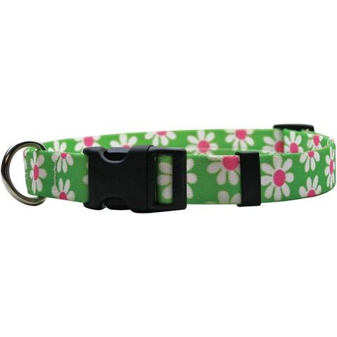 Yellow Dog Design Green Daisy Pet Standard Collar & Lead Set