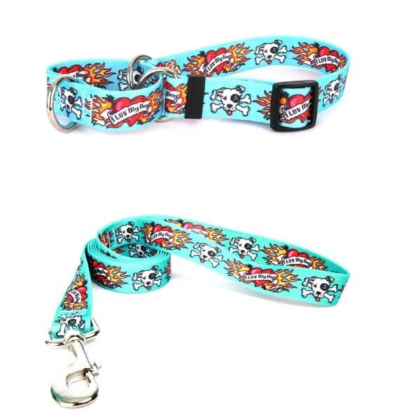 Yellow Dog Design I Luv My Dog Blue Pet Standard Collar and Lead Set