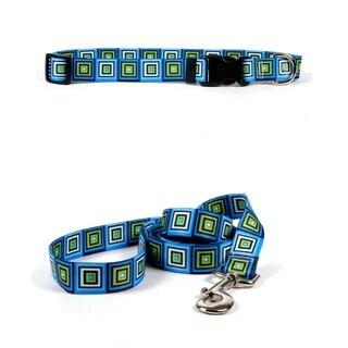 Yellow Dog Design Blue Blocks Pet Standard Collar & Lead Set