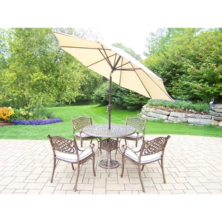 7-Piece Grand Dakota Outdoor Patio Dining Set with Cushioned Chairs and 9 ft Beige Umbrella