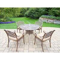 Outdoor Antique Bronze 5-Piece Dining Set with Beige Cushions