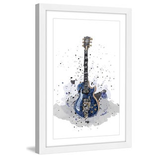Marmont Hill - 'Guitare Bleue Sans Texte' by Marie-Eve Pharand Framed Painting Print