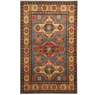Herat Oriental Afghan Hand-knotted Tribal Kazak Wool Rug (3'9 x 6'2)