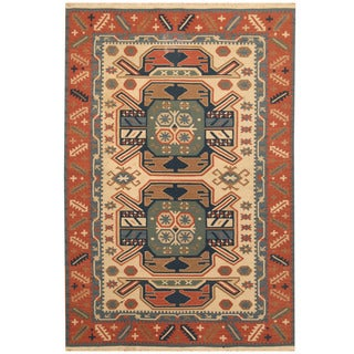 Herat Oriental Indo Hand-woven Vegetable Dye Tribal Wool Kilim (4' x 6')