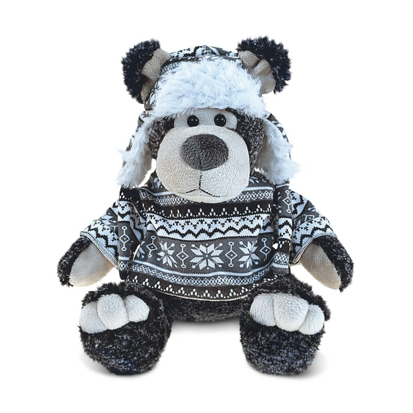 Puzzled Black Bear With Grey Sweater and Hat Plush Animal