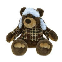 Puzzled Brown Bear Super Soft Plush Stuffed Animal Toy With Clothes