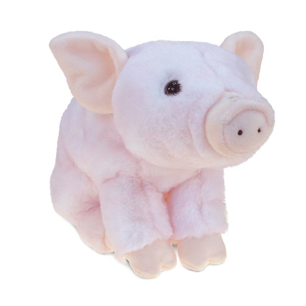 Puzzled Pink Polyester 7-inch Squating Piggy Plush Toy