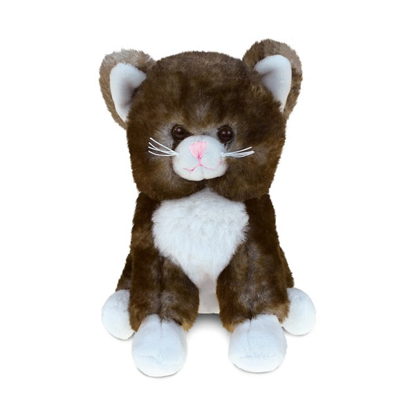 Puzzled Brown 6-inch Cat Super-soft Stuffed Plush Cuddly Animal Toy