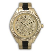 Olivia Pratt Two-tone Fancy Rhinestone Dial Metal Bangle Watch