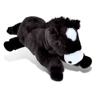 Puzzled 'Lying Horse' Black Super Soft Plush Stuffed Animal