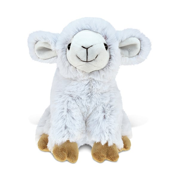 Puzzled White 8-inch Stuffed Plush Sheep Toy