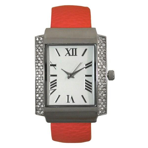 Olivia Pratt Rectangular Rhinestone Bezel Roman Numeral Leather Bangle Watch