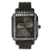 Olivia Pratt Women's Metal Rhinestone Bezel Rectangular 3-dial Bangle Watch