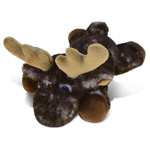 Puzzled Brown Lying Moose Plush Animal