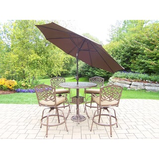 Grand Dakota 7-Piece Bar Set with 4 Cushioned Swivel Stools, 9 ft. Brown Umbrella and Metal Stand