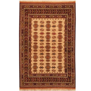 Herat Oriental Afghan Hand-knotted Turkoman Silk Rug (4' x 6'1)