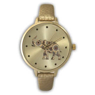 Olivia Pratt Sleek Lotus Patterned Elephant Dial Leather Band Watch