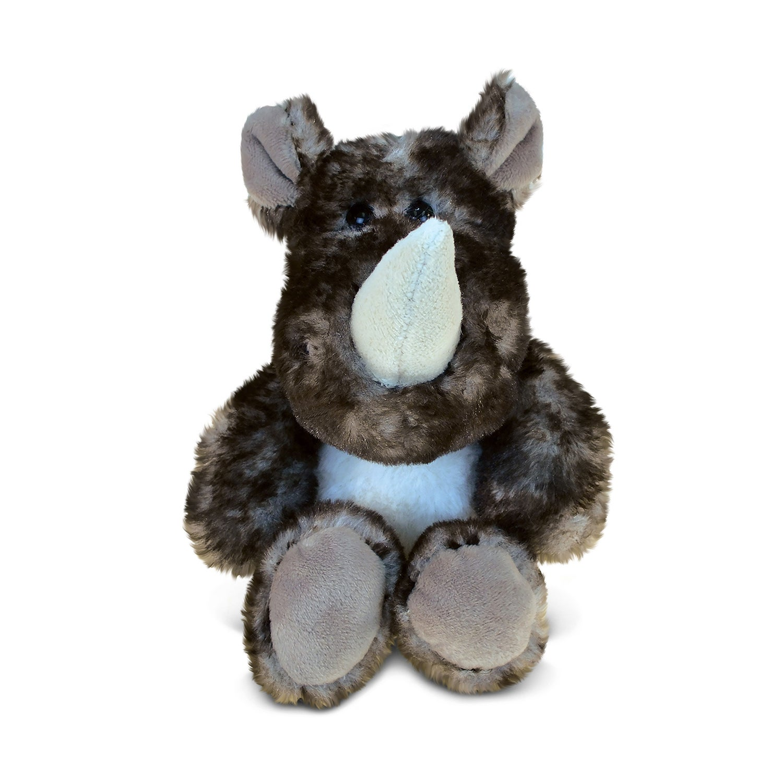 Puzzled Sitting Brown Rhino Super-soft Plush Toy (Wild An...