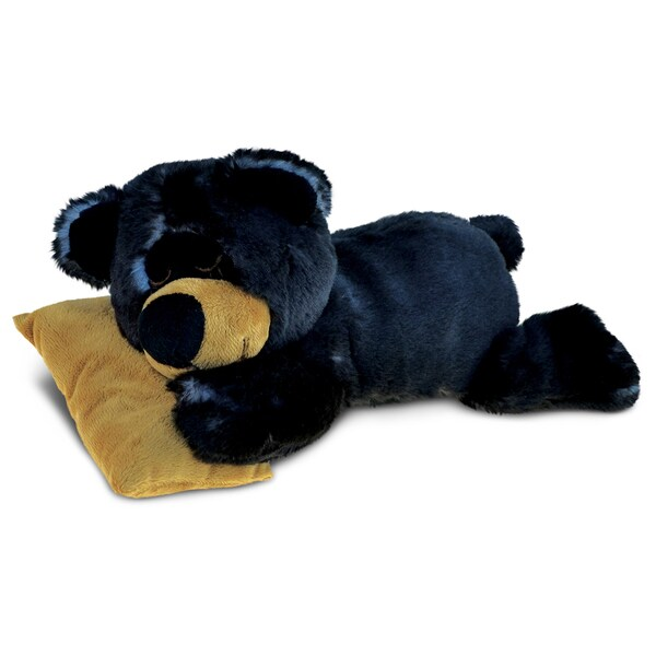 Puzzled Sleeping Black Bear With Pillow Plush Animal