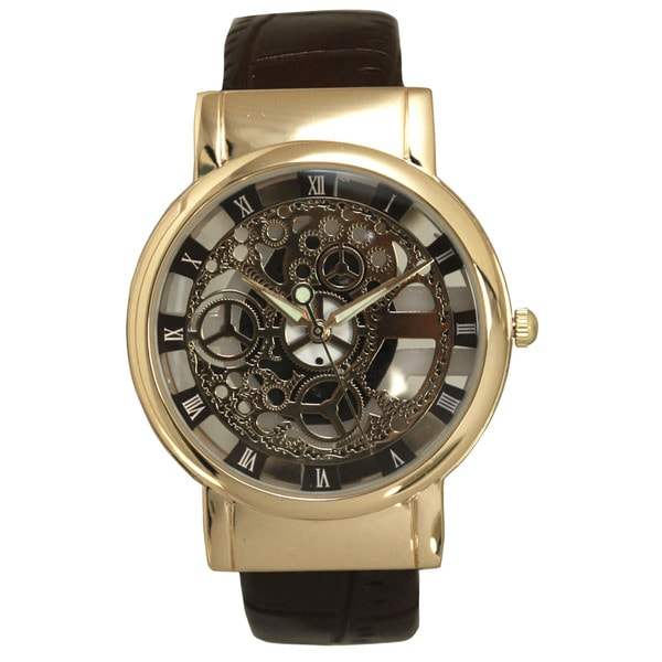 Olivia Pratt Unique Skeleton Leather Bangle Watch