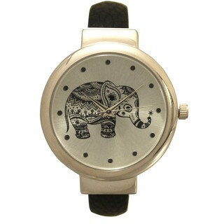 Olivia Pratt Tribal Elephant Dial Leather Bangle Watch