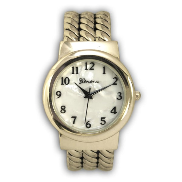 Olivia Pratt Old-fashioned Style Rope Metal Bangle Watch