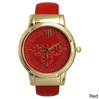 Olivia Pratt Simple Colorful Black/ Gold Leather 3-Dial Roman Numeral Bangle Watch (Option: Red)