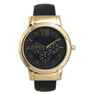 Olivia Pratt Simple Colorful Black/ Gold Leather 3-Dial Roman Numeral Bangle Watch