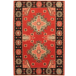 Herat Oriental Indo Hand-woven Tribal Vegetable Dye Wool Kilim (3'10 x 5'10)