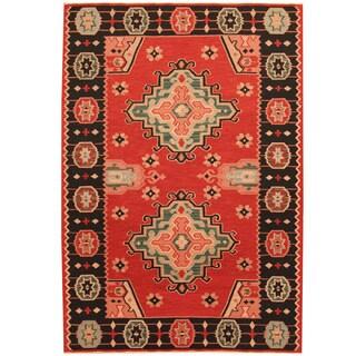 Herat Oriental Indo Hand-woven Tribal Vegetable Dye Wool Kilim - 3'10 x 5'10