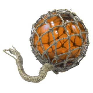 FireFly Rope Wrapped Orange Glass 8-inch Fishing Float