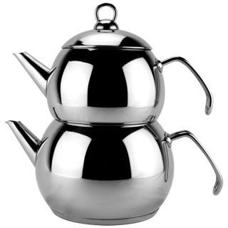 Mirror-Finished Stainless Steel Double Tea Kettle