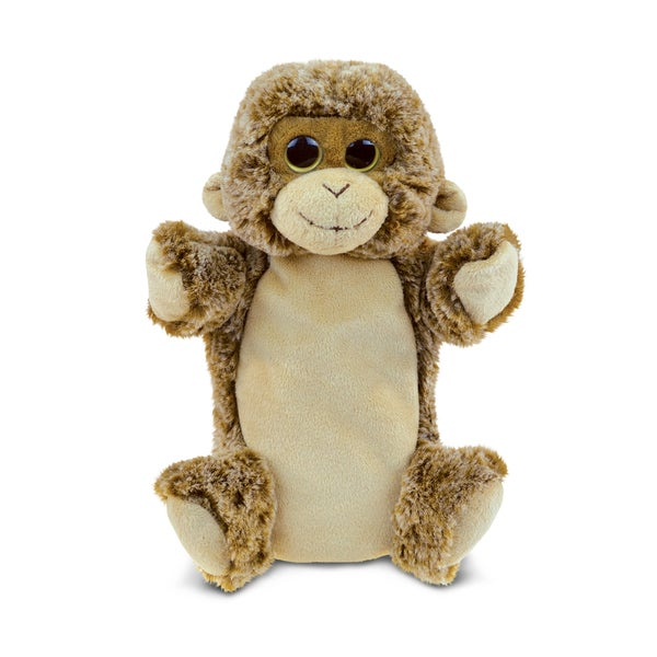 Puzzled Inc. 9-inch Monkey Super-soft Plush Cuddly Animal Hand Puppet