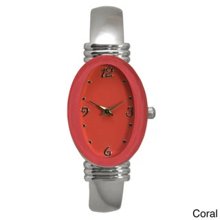 Olivia Pratt Silvertone Stainless Steel Oval Bezel Bangle Watch (Option: Orange)