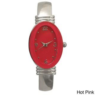 Olivia Pratt Silvertone Stainless Steel Oval Bezel Bangle Watch
