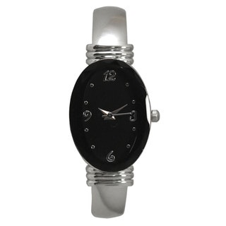 Olivia Pratt Silvertone Stainless Steel Oval Bezel Bangle Watch