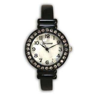 Olivia Pratt Women's Vintage Style Black Stainless Steel Rhinestone Bezel Slim Bangle Watch