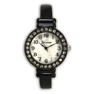 Olivia Pratt Women's Vintage Style Black Stainless Steel Rhinestone Bezel Slim Bangle Watch
