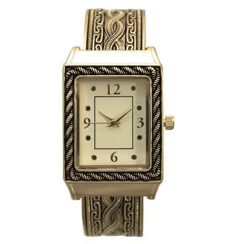 Olivia Pratt Women's Metal Antique-style Twisted-cable Rectangular Bezel Bangle Watch