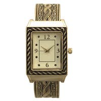Olivia Pratt Women's Metal Antique-style Twisted-cable Rectangular Bezel Bangle Watch