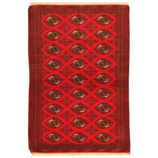 Herat Oriental Persian Hand-knotted Turkoman Wool Rug (4' x 5'10)